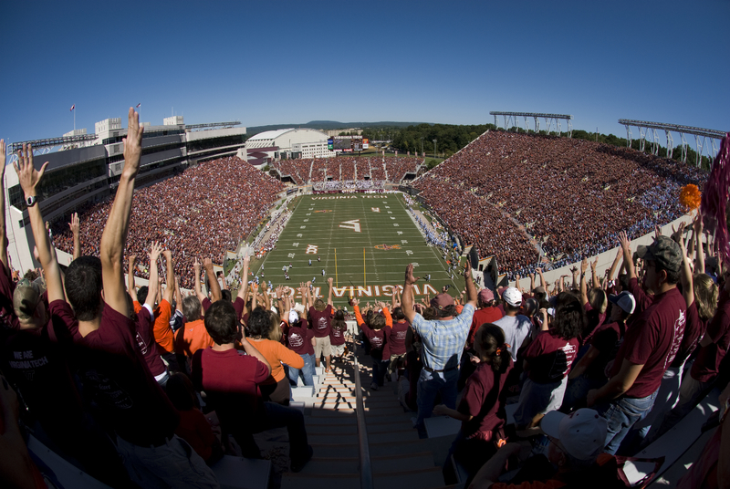 High angle of fans in Lane Stadium football
