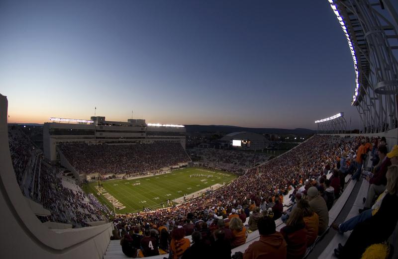 Lane Stadium, sunset / night, Highty Tighties on field