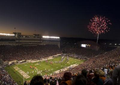 Lane Stadium, fireworks, sunset, Highty Tighties on field
